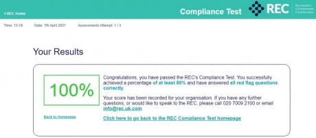People First scored 100% in the Recruitment & Employment Confederation's Compliance Test